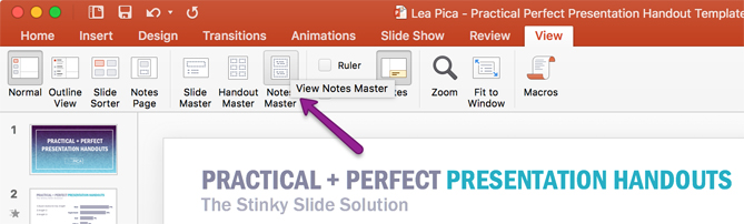 Lea Pica - Perfect Presentation Handouts - Notes Master
