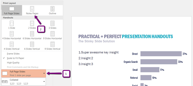 Lea Pica - Perfect Presentation Handouts - Printing Notes View